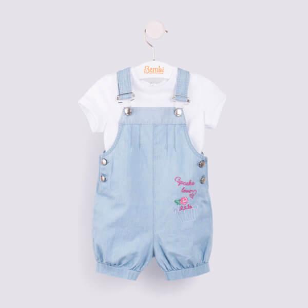 Dziewczęcy komplet niemowlęcy letni 2 częściowy dla małej dziewczynki w r.68-74 cm. biała bluzeczka i ogrodniczki jeansowe Bembi KP179 kolekcja LATO wyprzedaż