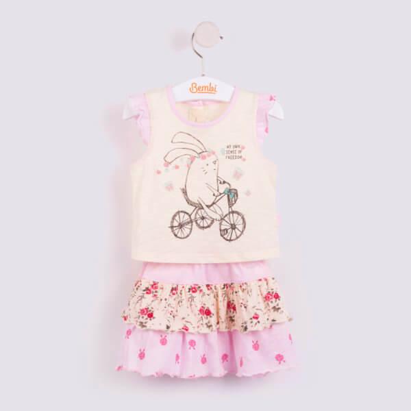 Komplet letni dla dziewczynki 2 częściowy w r.80-98 cm.: bluzka ze spódniczką w stylu boho – falbanki, kwiatki z motywem królika na rowerze bawełniany różowy lub turkusowy Bembi KS514 kolekcja LATO wyprzedaż