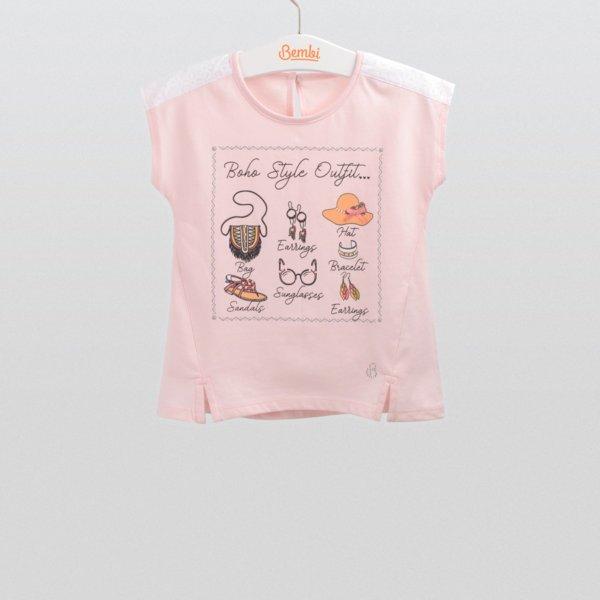 Letnia bluzka z krótkim rękawem dla dziewczynki r.98-116 cm. bawełniana różowa z rozcięciami Bembi FB545 kolekcja LATO wyprzedaż