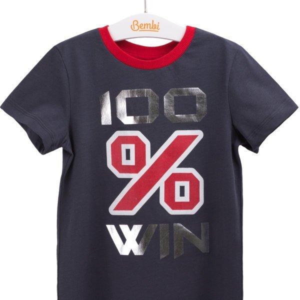 T-shirt chłopięcy z krótkim rękawem w r.98-140 cm. ciemno-szary grafitowy bawełniany dla chłopca Bembi FB605 kolekcja LATO wyprzedaż