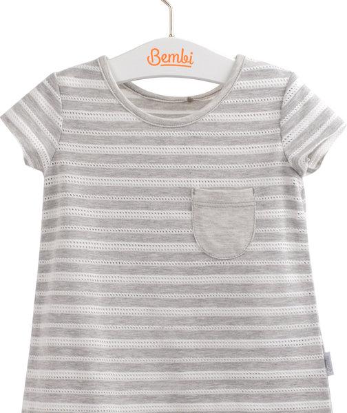 Dziewczęcy T-shirt tunika z krótkim rękawem bawełniana szara w paski z kieszonką r.98-116 cm. Bembi FB577 kolekcja LATO wyprzedaż