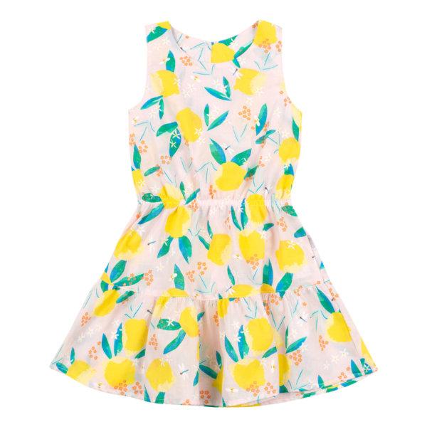 Letnia sukienka kwiatowy i owocowy wzór Bembi PL277 zwiewna bawełniana kolekcja LATO 2020