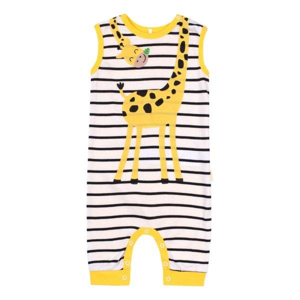 Wesoły letni rampers niemowlęcy dla dziecka w r.62-86 cm. bawełniany biało-żółty w paski żyrafa Bembi PK169 kolekcja LATO 2020
