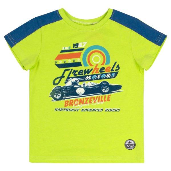 Letni t-shirt chłopięcy z krótkim rękawem dla chłopca r,104-140 cm. zielony lub pomarańczowy Bembi FB694 kolekcja LATO 2020
