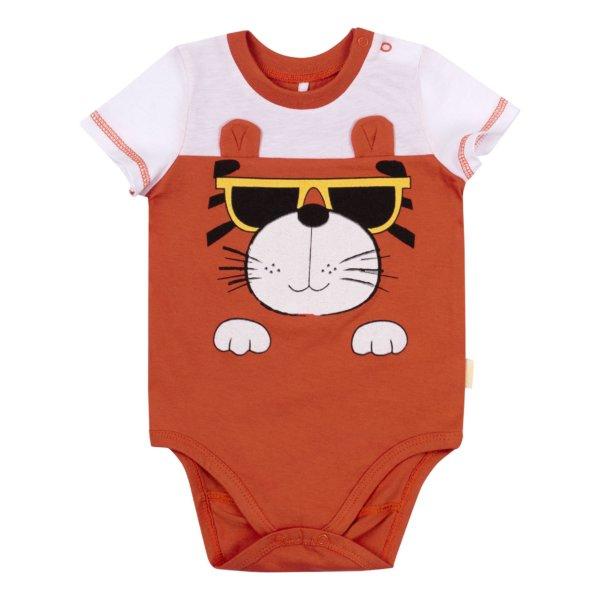 Body niemowlęce z krótkim rękawem bawełniane dla niemowląt na lato rudy tygrysek Bembi BD148 kolekcja LATO 2020