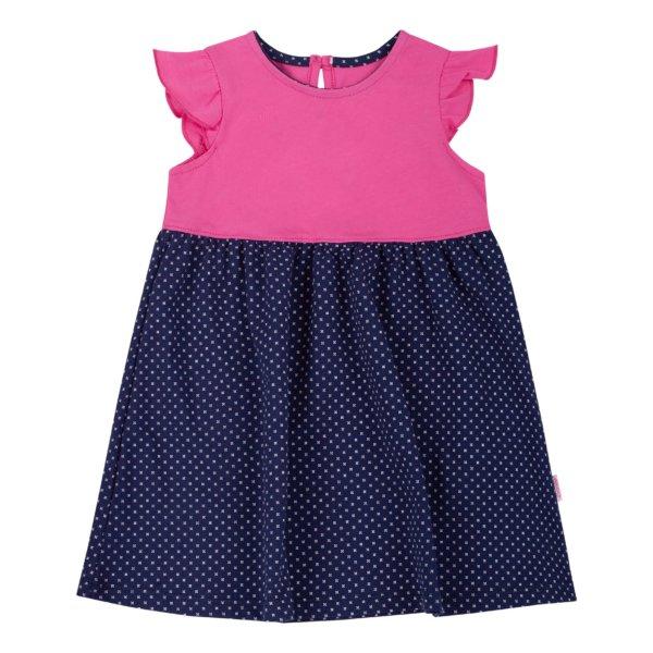 Letnia bawełniana sukienka dla małej dziewczynki r.74-98 cm. z fantazyjnym krótkim rękawkiem, w groszki na lato Bembi PL271 kolekcja LATO 2020