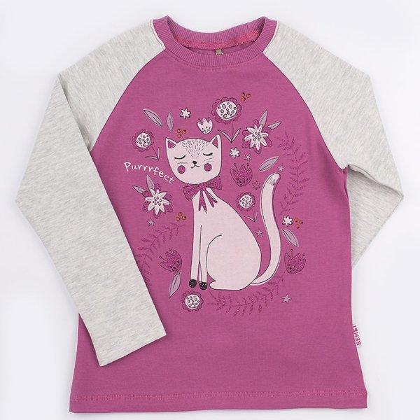 Koszulka na długi rękaw z kotkiem dziewczęca BEMBI FB581