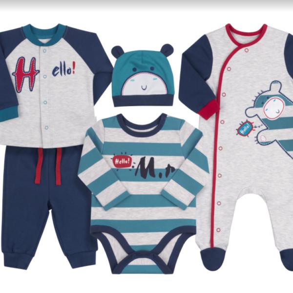 Komplet niemowlęcy 5 części bawełna newborn BEMBI KP174