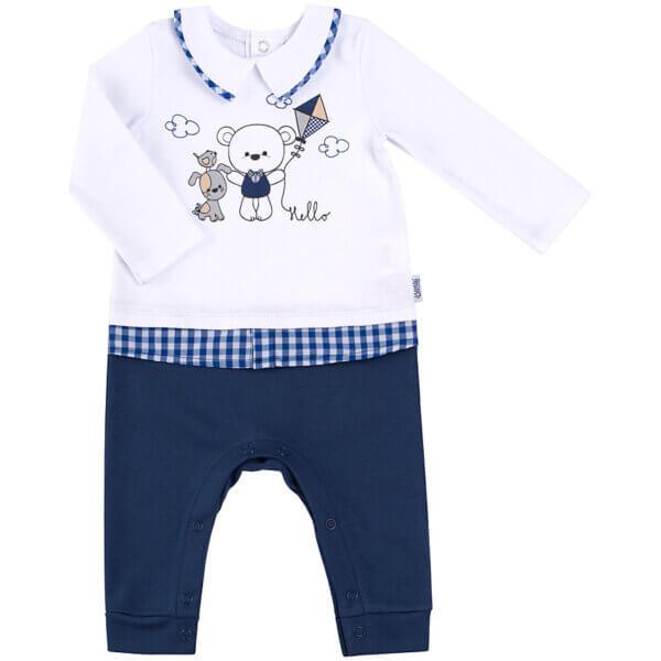 Pajacyk niemowlęcy bawełna biały niebieski MIŚ newborn BEMBI KB132