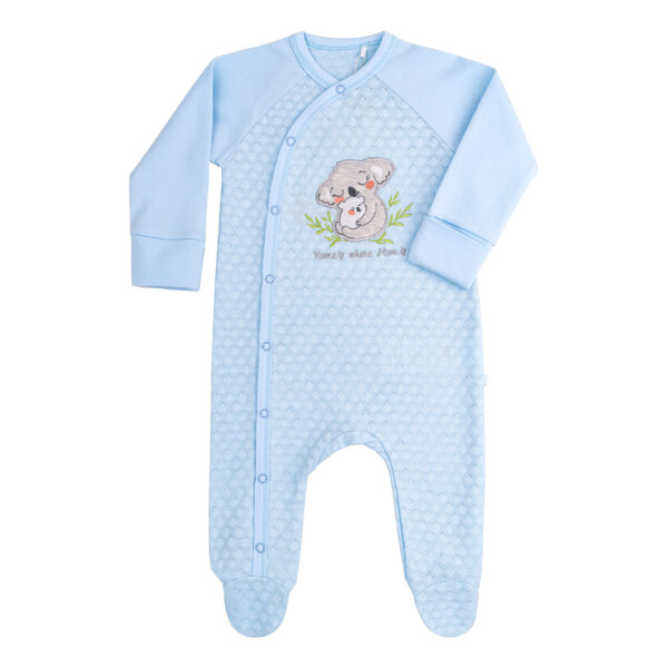 Pajacyk niemowlęcy bawełna niebieski beżowy newborn BEMBI KB145