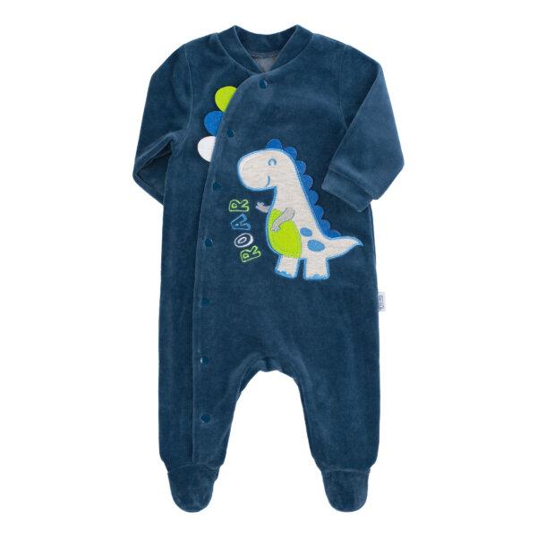 Pajacyk niemowlęcy welur chłopiec dinozaur newborn BEMBI KB148