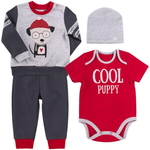 Komplet niemowlęcy 4 części cool puppy bawełna basic BEMBI KP204